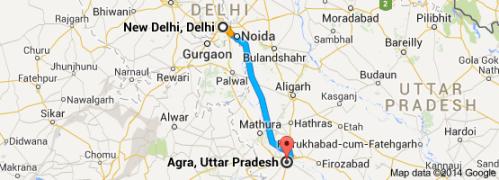 Delhi to Agra map