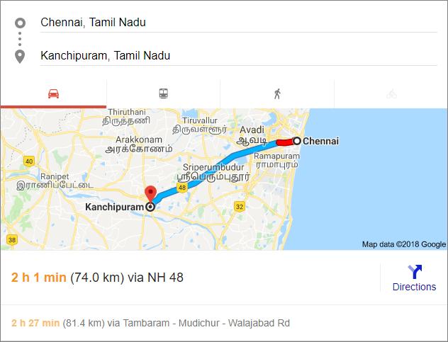 Chennai- Kanchi map