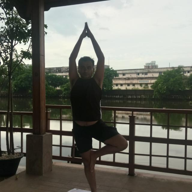 Yoga by the backwater